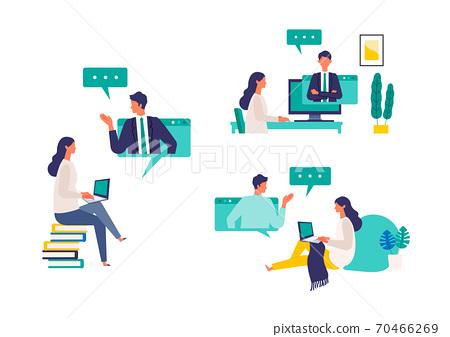 參加視頻會議和在線課程的女人的插圖 70466269