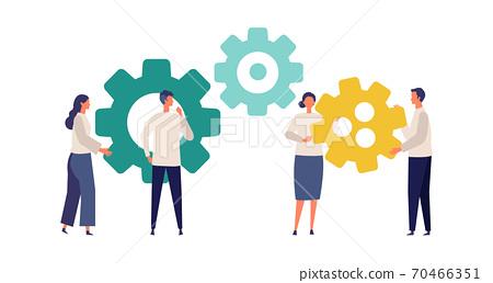 成年男子和婦女成為齒輪的形象 70466351