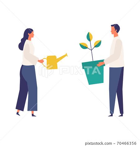 成年男子和婦女成長和養育的形象 70466356