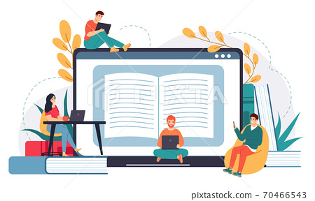 Online business school. Distance education, web courses or tutorials, e-learning, business meeting or online video conference vector illustration 70466543