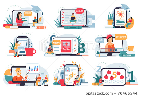 Online home education. Distance education, digital classroom, students learning online at home with smartphone or laptop vector illustration set 70466544
