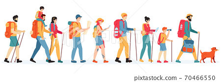 Travelling hikers. Outdoor active hikers, walking young men and women with backpacks, tourists people in trekking tour vector illustration set 70466550