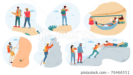Mountain climbers. Active outdoor activity, climbers group and tourists, extreme lifestyle, trekking, hiking in mountains vector illustration set 70466551