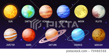 Cartoon solar system. Space planets, moon, sun, astronomical sphere earth mars mercury jupiter and venus. Galaxy space bodies vector illustration set 70466588