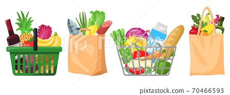 Supermarket grocery bags. Shopping baskets and bags, plastic, paper purchases packages, shopping bags with organic foods vector illustration set 70466593