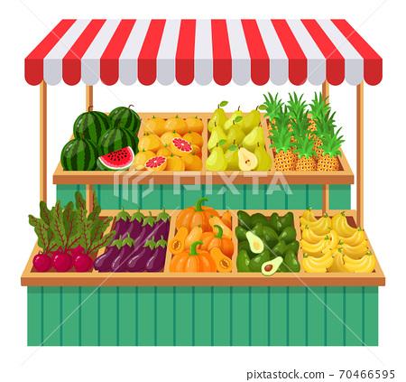 Vegetables supermarket stall. Fruits, vegetables wooden counter, grocery store organic food. Fresh vegetables local shop vector illustration 70466595