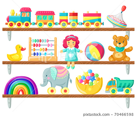 Kids toys on shelves. Baby toys on wooden shelf, ball, plush bear and doll, elements for child games and joy isolated vector illustration 70466598