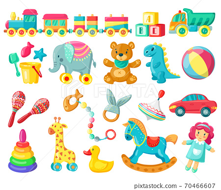 Cartoon kids toys. Baby plastic and wooden toys, bear, ball and doll, kids game activity, child fun and activity vector illustration symbols set 70466607