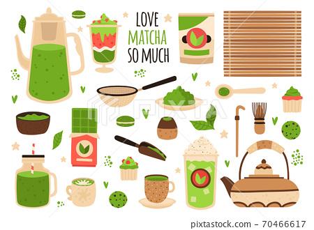 Matcha tea. Matcha powder, tea pot, sweets and matcha pastry, healthy delicious food and beverages, hand drawn matcha tea vector illustration set 70466617