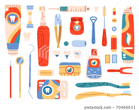 Dental care tools. Oral hygiene products and cleaning tools, toothbrush, toothpaste, dental floss, mouthwash. Oral care vector illustration set 70466631