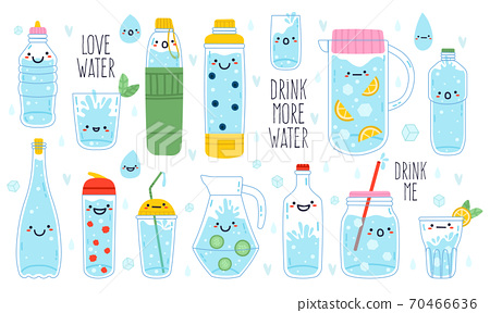 Doodle drink more water. Cute funny hand drawn water mascots in mug, glass and bottle, healthy rituals drink more water vector illustration set 70466636