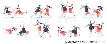 Football players. Soccer sportsmen characters struggle, fighting for ball, soccer overtaking, trick and attack vector illustration set 70466662