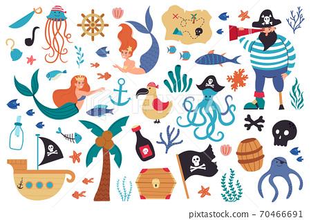 Pirates and mermaids. Sea underwater creatures and marine symbols, sail ship, jolly roger, treasure map and cute mermaids vector illustration set 70466691