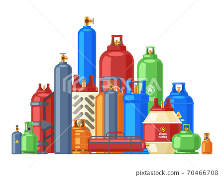Gas cylinder storage. Propane, butane or helium steel cylinders, metal flammable gas containers, fuel storage gas bottle vector illustration 70466708