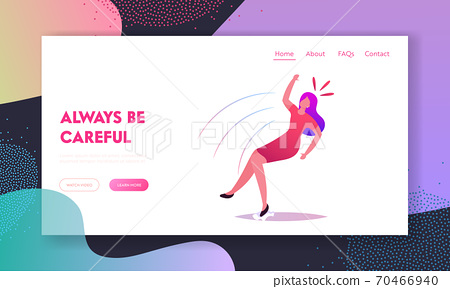 Clumsiness, Slip and Stumble Landing Page Template. Female Character Slipping and Fall on Wet Floor. Woman Falling 70466940