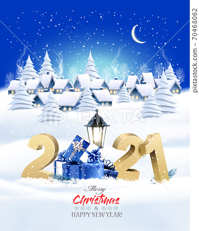 Holiday Christmas Winter Background with a Village Landscape and 2021 litters and presents. Vector illustration. 70468062