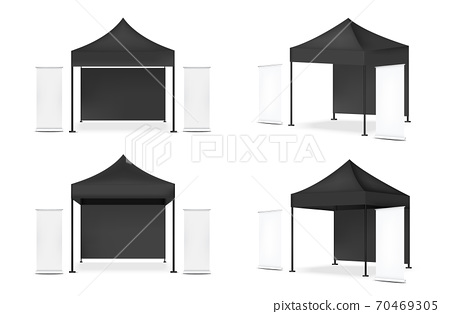 3D Mock up Realistic Tent Display POP Booth With Banner for Sale Marketing Promotion Exhibition Background Illustration 70469305