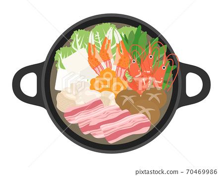 熱鍋烹調的例證 70469986