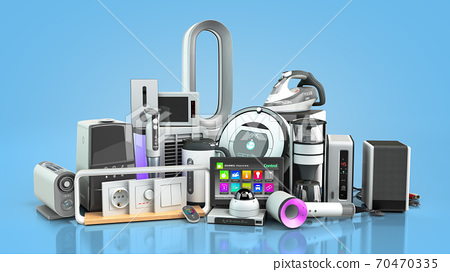 Small group modern Home appliances  E commerce or online shopping presentation concept 3d render on blue gradient 70470335