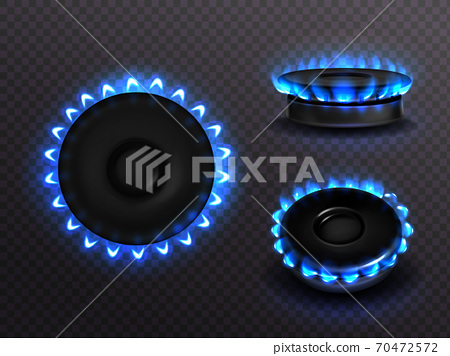 Burning gas stove with blue flame top or side view 70472572