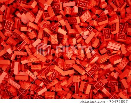 3D Rendering Red Toy Bricks background 70472897