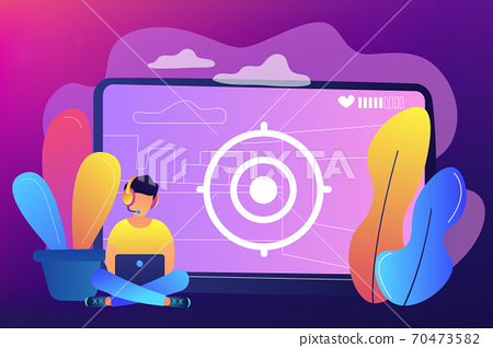 Video game walkthrough concept vector illustration. 70473582