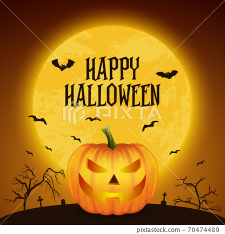 Happy Halloween Banner with Pumkin. Vector Glossy Cartoon Halloween Pumkin Lantern with Funny Face on Dark Night Cemetery Background. Front View. Design Template. Autumn Holidays, Halloween Concept 70474489