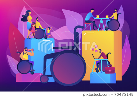 Social adaptation of disabled people concept vector illustration 70475149