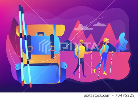 Summer hiking concept vector illustration. 70475228