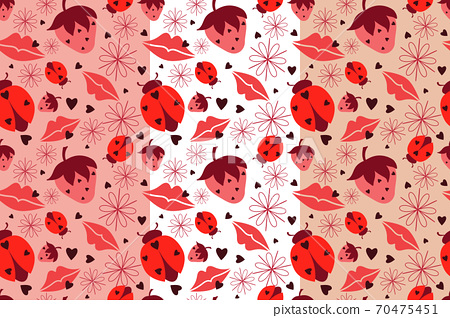 Abstract seamless pattern. Shades of pink images, silhouettes of lips, ladybug, strawberry, flower, heart in background for your choice 70475451