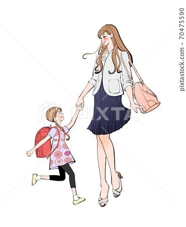 小學女孩抱著媽媽和學校的單元格,手牽著手的插圖 70475590