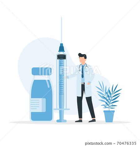 Doctor holding medical injection syringe. Medicine healthcare concept. 70476335