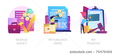 Tax payment stages vector concept metaphors. 70476468