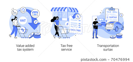 Transportation taxes abstract concept vector illustrations. 70476994