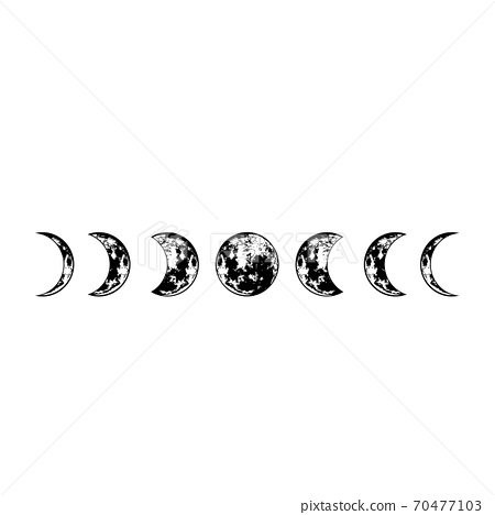 Lunar phases. Vector moon surface. Isolated cosmic silhouette.  70477103