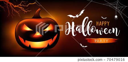 Happy Halloween message pumpkins ghost, bat, on orange and black background 70479016