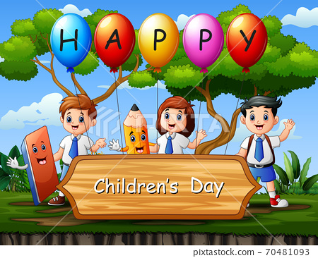 Happy children's day poster with students in the park 70481093