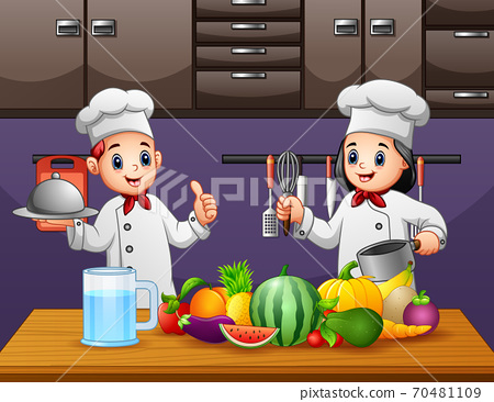 Happy two chef preparing healthy foods	 70481109