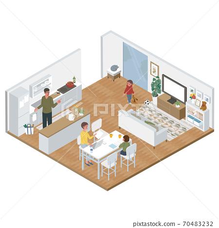 사시 거실에서 재택 근무를하는 여성 주방 경과 남성 가족 일러스트 70483232