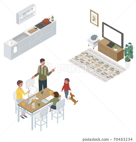 在等距客廳裡的女性家庭遠程辦公的插圖 70483234