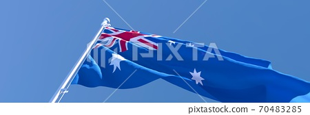 3D rendering of the national flag of Australia waving in the wind 70483285