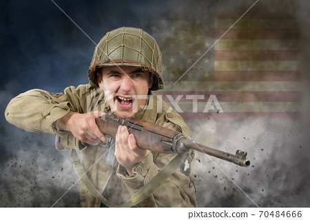 American soldier ww2 attack 70484666