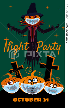 Scarecrow character at the cemetery in medical face mask from coronavirus during quarantine with a Jack O Lantern head pumpkin in ripped coat with Happy Halloween poster. Isolated vector 70485377