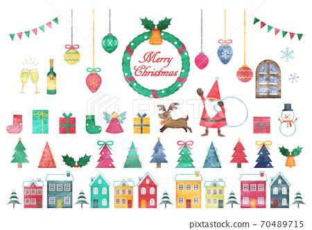 手繪水彩風格聖誕節插圖集 70489715