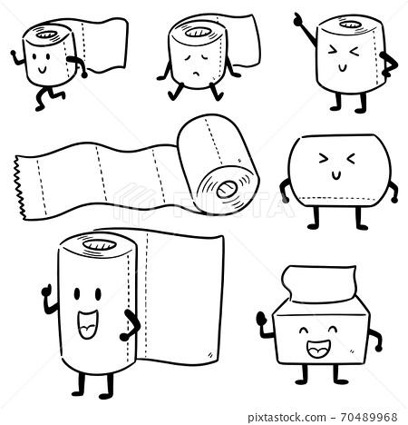 vector set of tissue paper cartoon 70489968