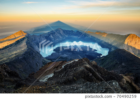 Mount Rinjani summit in the morning during sunrise - Lombok, Indonesia. 70490259