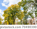 In the courtyard of stalinka building. Orange and green trees, Ukraine, Kharkov 70490390