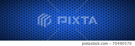 Structured dark blue metallic perforated header 70490570