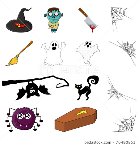 Halloween symbols. Vector collection of spooky icon set for party invitation. Creepy cartoon design element isolated on white. October vectors with zombie, ghost, spider, bat, cat, coffin, witch hat 70490853