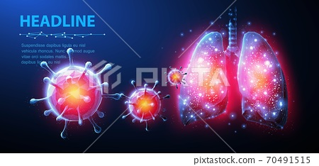 Virus and lung. Abstract vector 3d corona microbe on lung background. Pneumonia virus, covid illnes, medical healthcare, microbiology concept. 70491515